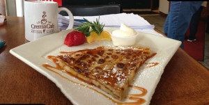 Simple crepe with caramel sauce that might make you wish you had some privacy.