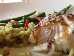 Flakey Chilean Sea Bass - indescribably delicious.